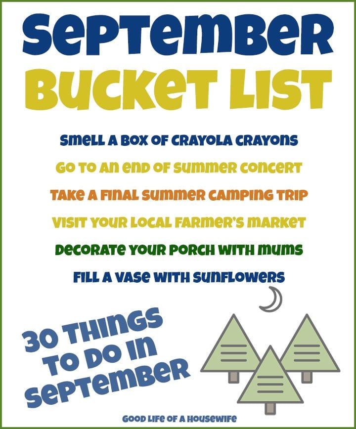 SEPTEMBER BUCKET LIST