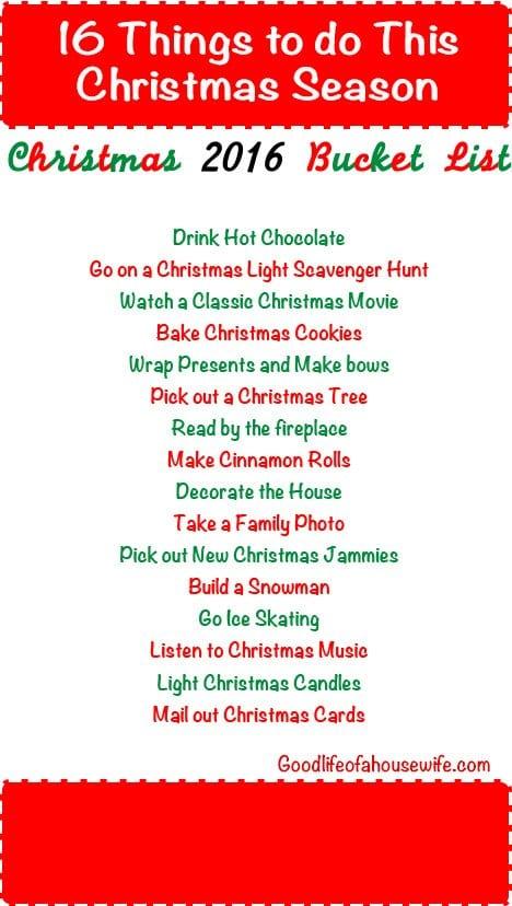 Christmas 2016 Bucket List