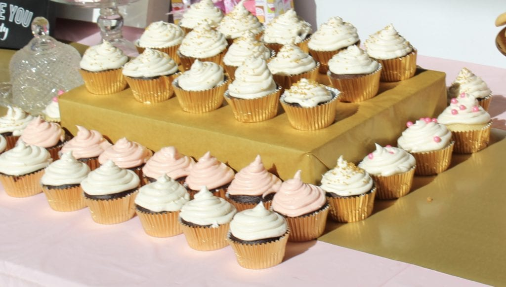 DIY cupcake stand for a baby shower