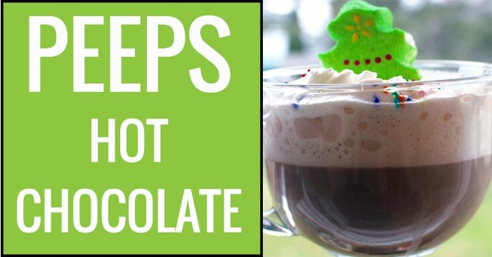 My mom used to make this hot chocolate. It's super easy hot chocolate that the kids will love. Peeps Hot Chocolate.