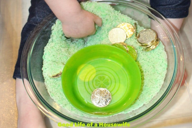 TODDLER SENSORY ACTIVITY: GOLD COIN HUNT IN GREEN RICE