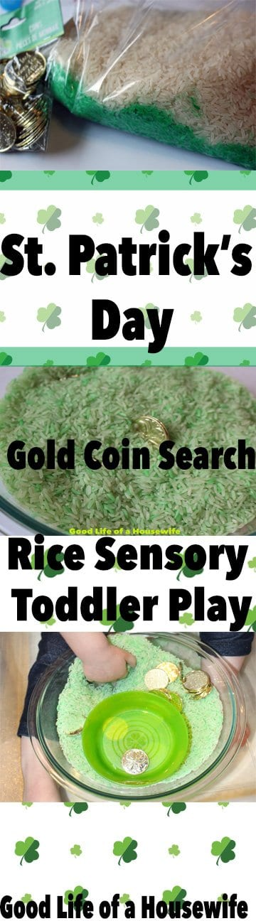 St. Patrick's Day Rice Sensory Toddler Activity. Good Life of a Housewife | www.goodlifeofahousewife.com