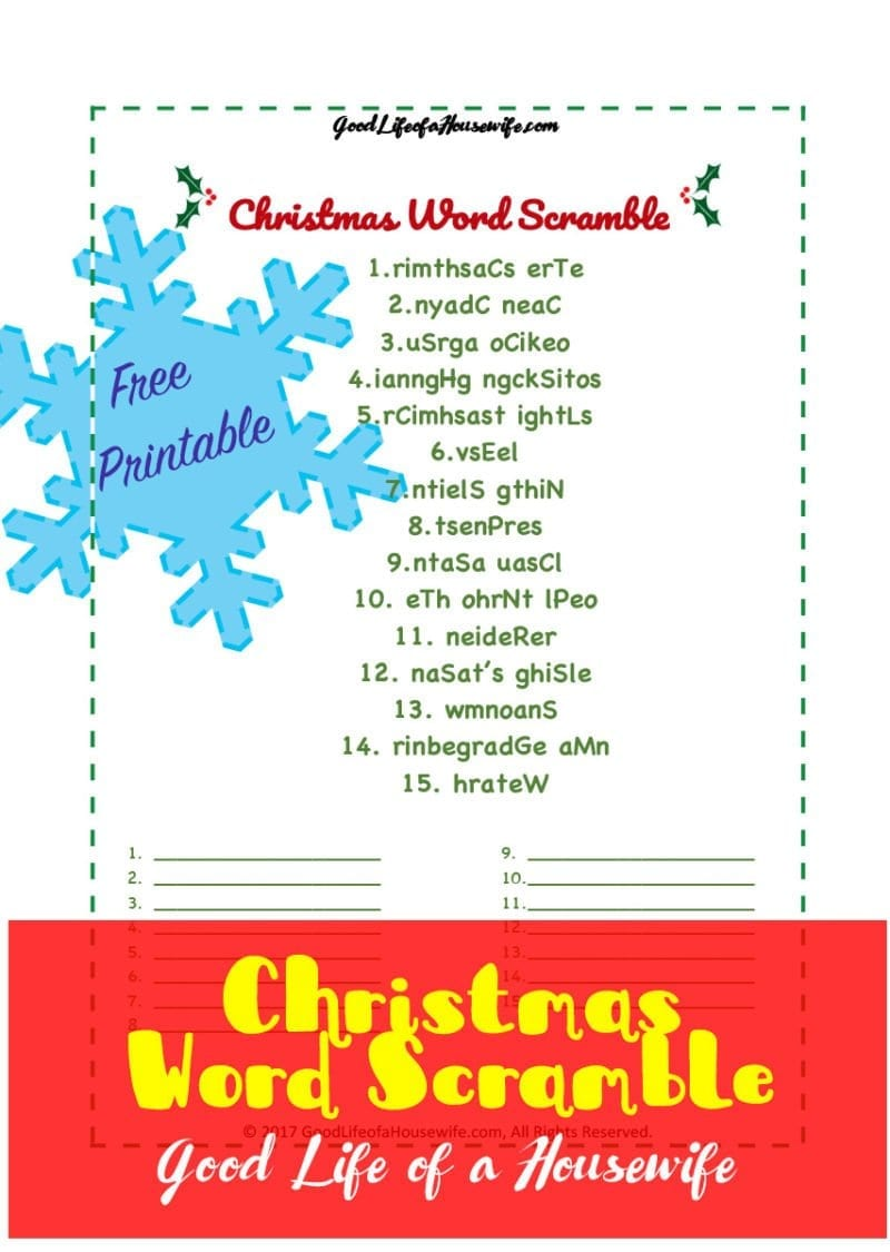 Christmas Word Scramble, Free Printable for Kids | Christmas Printables| Christmas for Kids