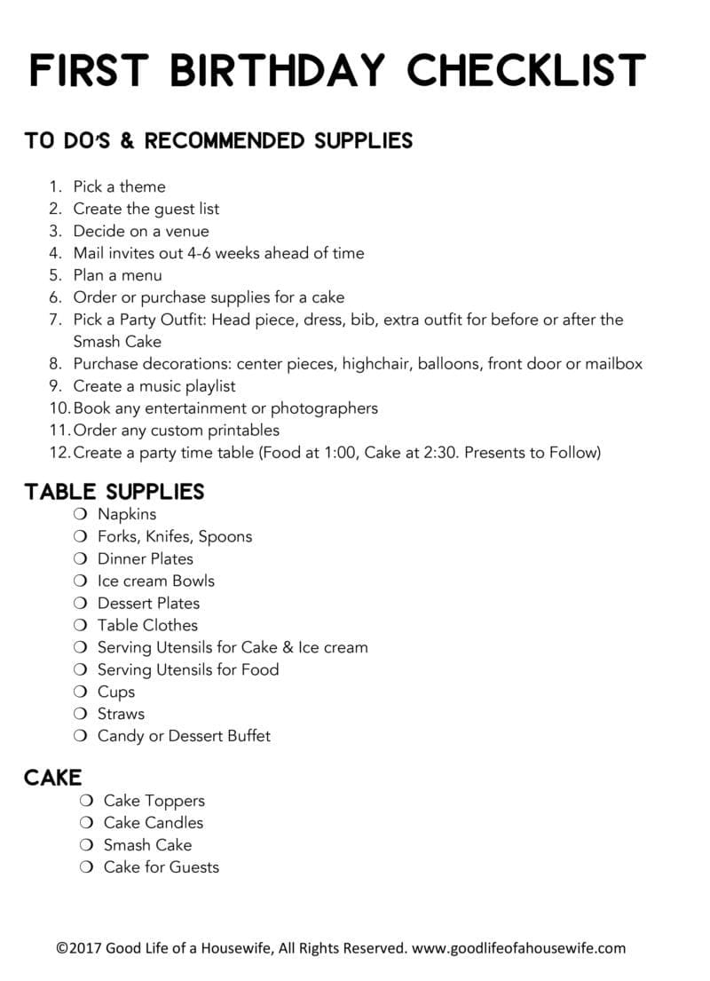 picture regarding 1st Birthday Party Checklist Printable identified as Birthday Developing Printables for a 1st birthday