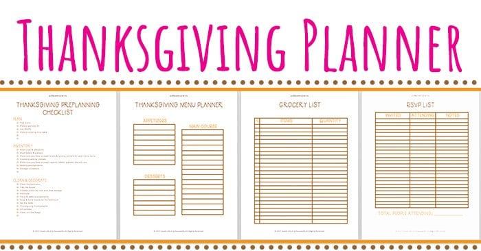 graphic about Printable Thanksgiving Menu called Thanksgiving Planner Cost-free Printables