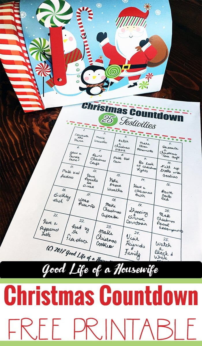 Christmas Countdown Printable for Toddlers & and the whole family