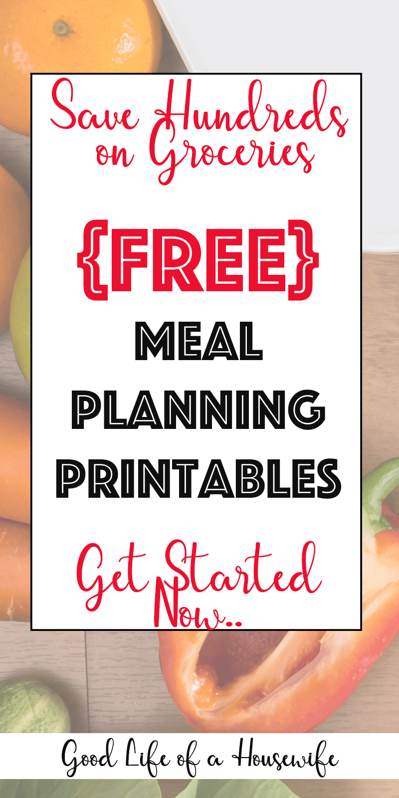 Free Meal Planning Printables to help you plan out your week and save hundreds on groceries. #mealplanning #mealplanningprintables #frugalliving #mealplanmenu