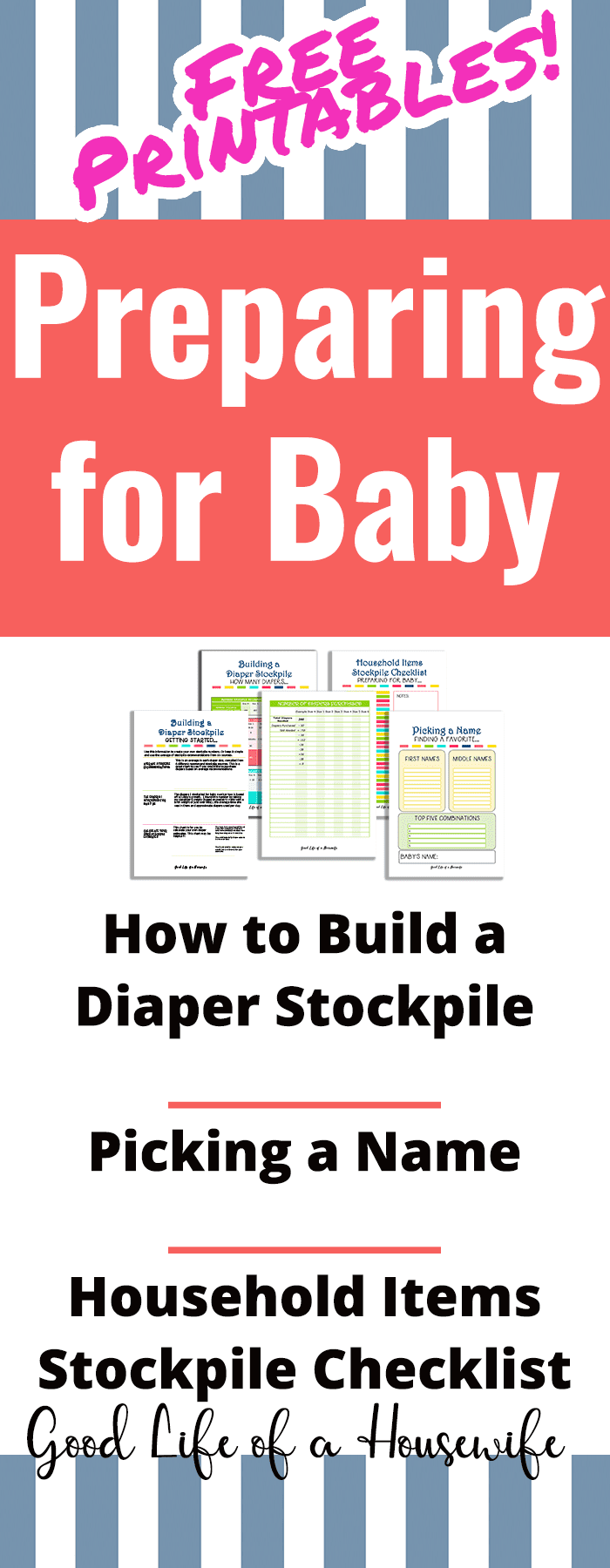 A checklist and free printable to help you prepare for a new baby. It includes how to build a diaper stockpile, a place for favorite names, and household items to stockpile and more! #preparingforbaby #baby #diaperstockpile #diapers #newbabychecklist