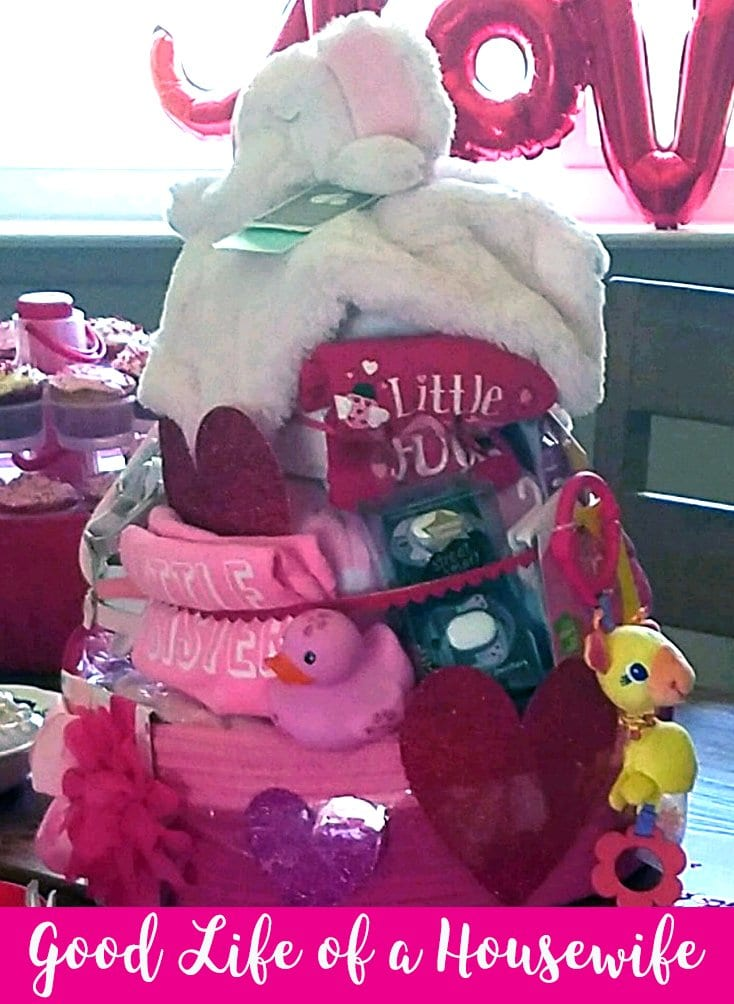 Pink and red diaper cake