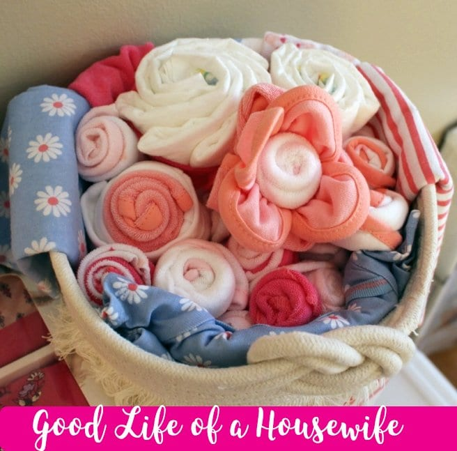 Baby Flower diaper and wash cloth display
