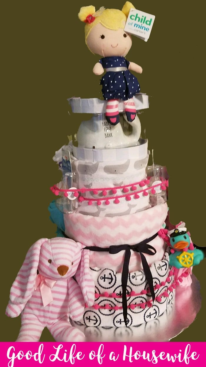Nautical themed diaper cake for a baby girl