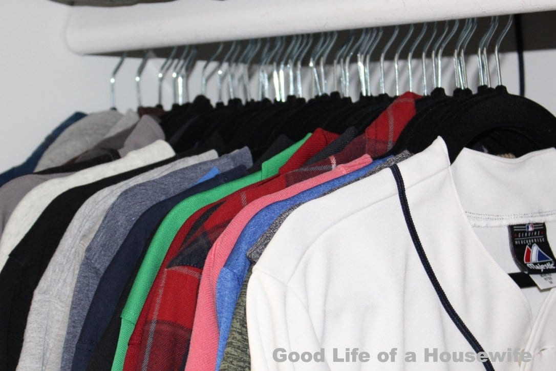 Velvet hangers help keep a clean and organized closet
