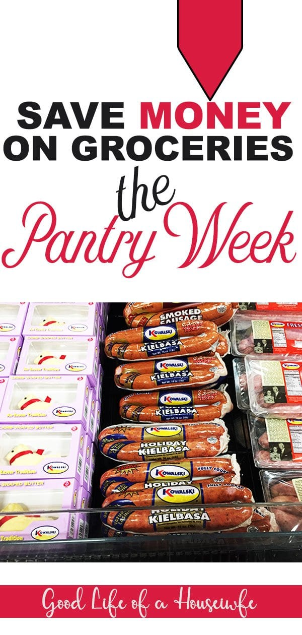 The pantry week is an easy way to skip a weeks worth of grocery shopping and save money.