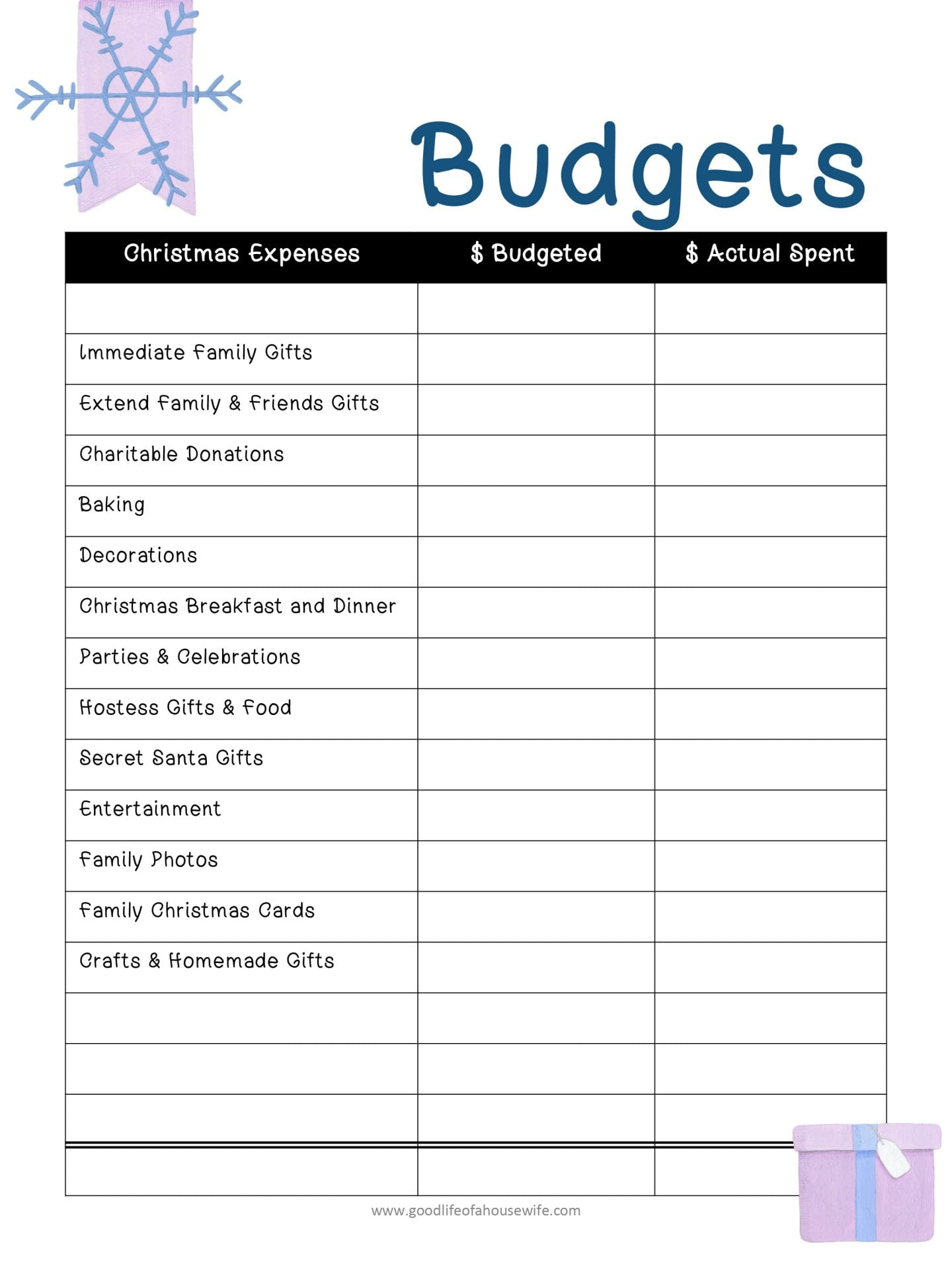 Christmas Budget and Free Christmas Planner Printable