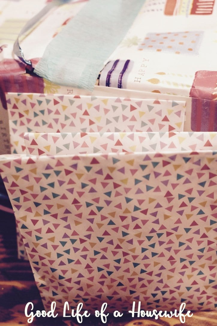 A birthday scavenger hunt is perfect in lieu of a big party. Take little goodie bags and fill them with your child's favorite things and hide them around the house. We placed them around her kitchen set.