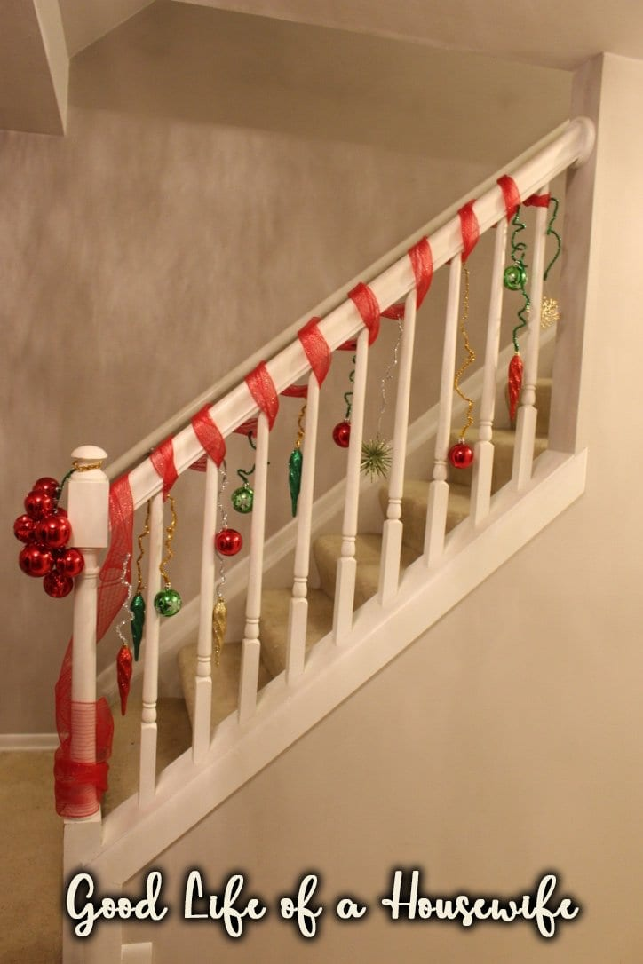 Decorate the banister with pipe cleaners and shatterproof ornaments for something festive.