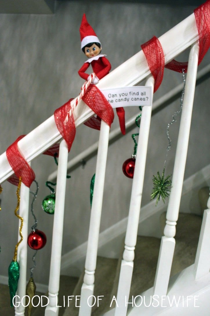 Elf on the Shelf ideas with candy canes