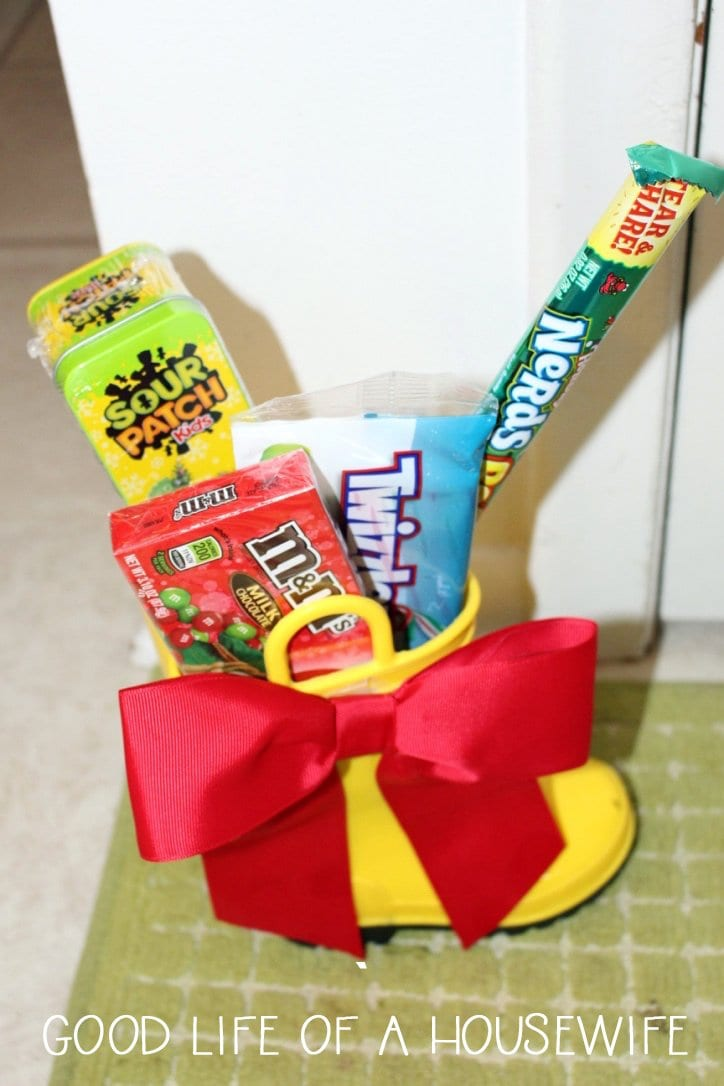 Elf on a shelf fills your boot with candy.