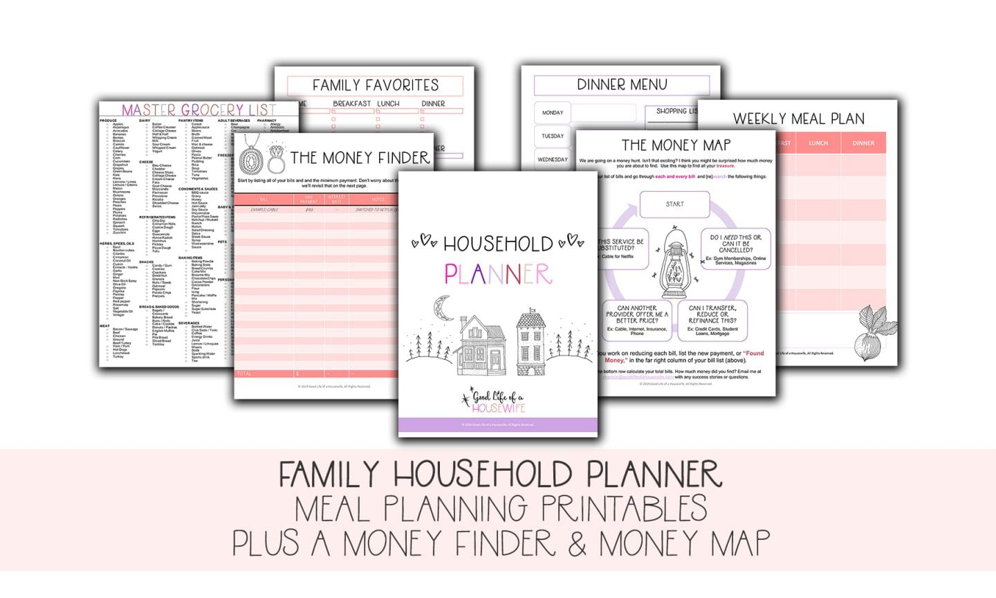 Family Household Planner 2019 Meal planning printables to save money