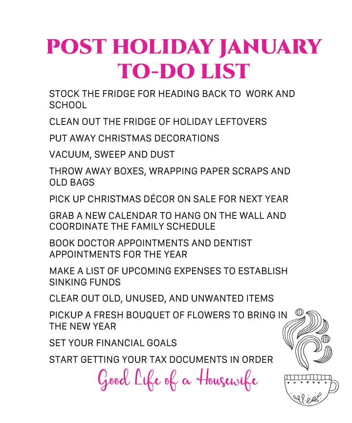 Post Holiday January To Do List