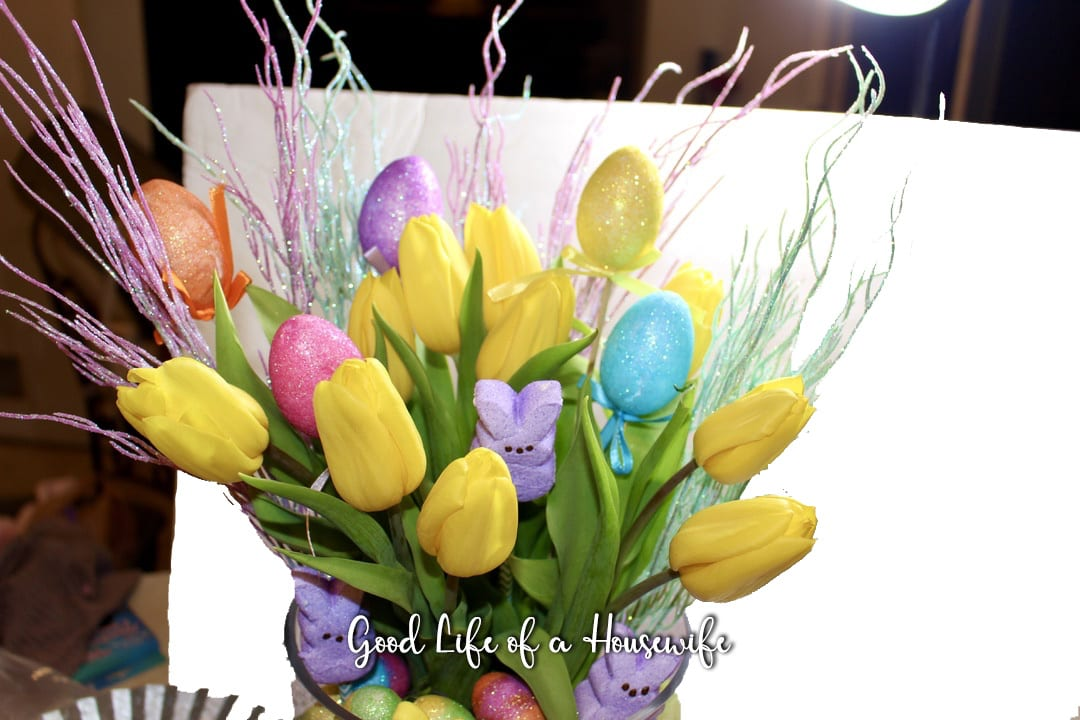 Tulips, Peeps and Egg Easter Arrangment