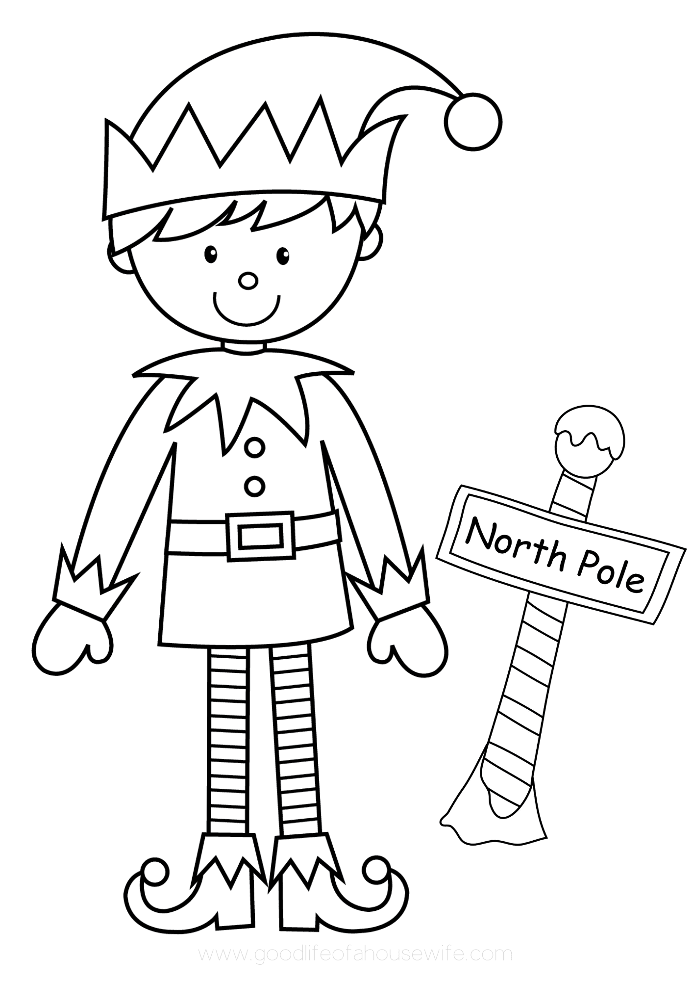 elf coloring printable