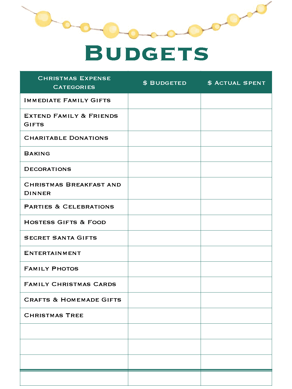 Christmas Budgets - Good Life of a Housewife