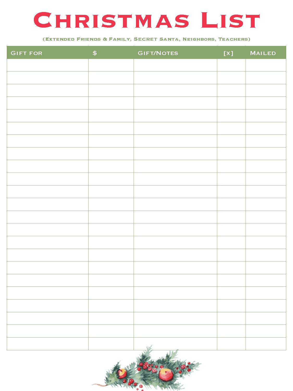 Christmas List - Free Christmas Planner - Good Life of a Housewife
