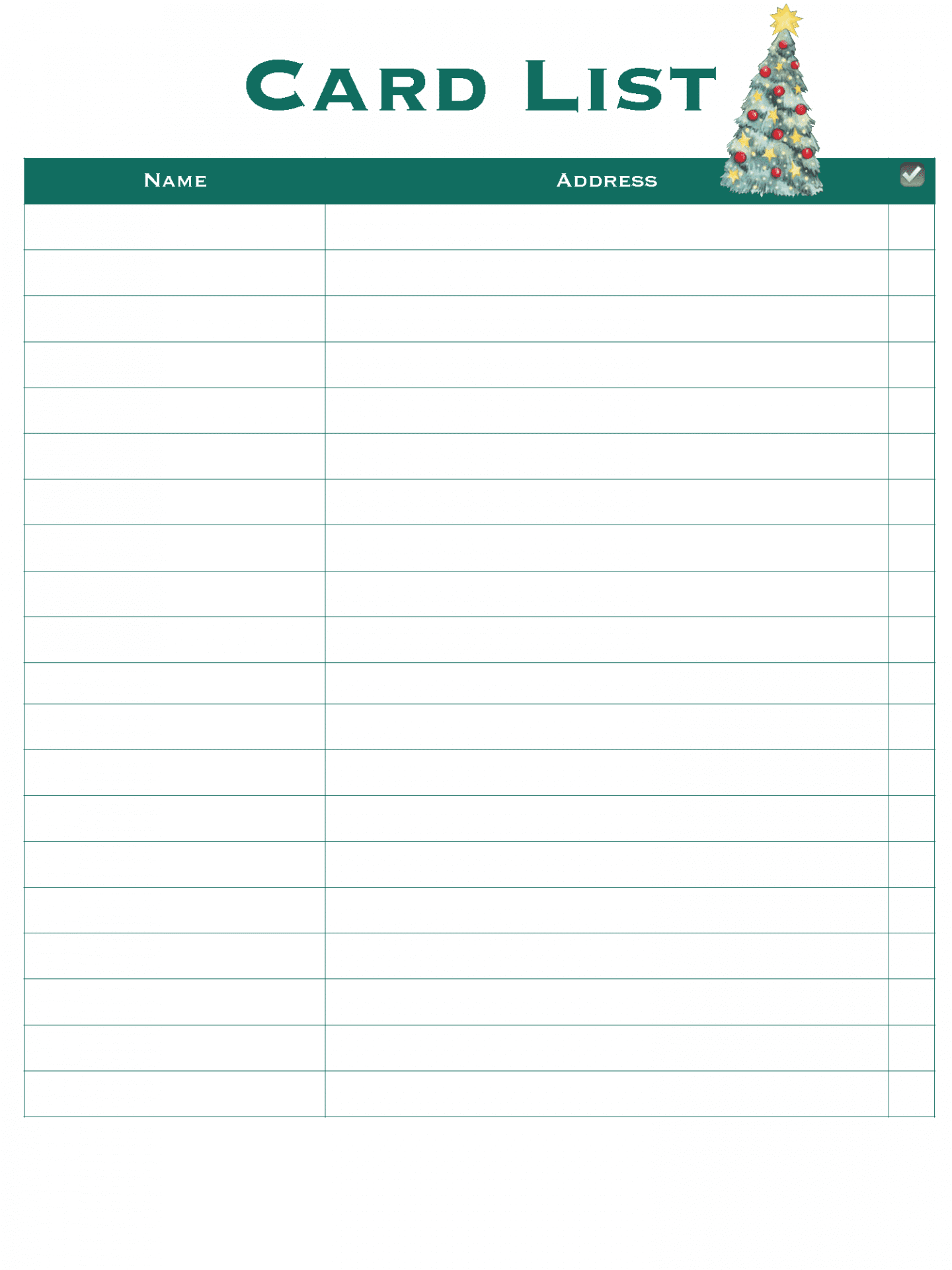 Card List - Christmas Planner - Good Life of a Housewife